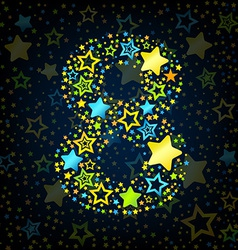 Number 8 cartoon star colored vector image