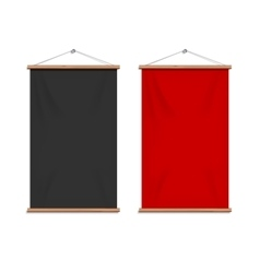 Realistic black and red textile banners vector image vector image