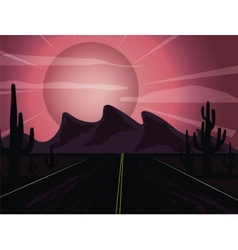 Sunset in the desert vector image