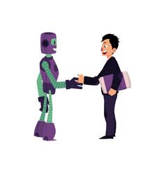 flat robots people interaction scenes vector image vector image