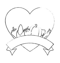 frame in heart shape with vegetables icon vector image