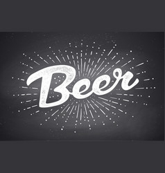 hand drawn lettering beer vector image