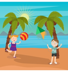 Children Sea Vacation Girl Playing Ball on Beach vector image vector image
