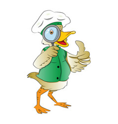 duck looking through a magnifying glass vector image vector image