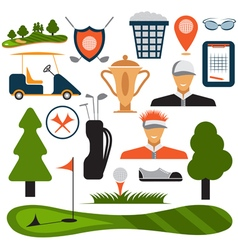 Flat Design Golf Icon Set vector image