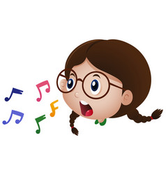little girl singing with music notes vector image vector image