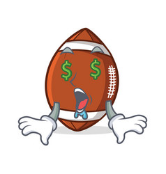 Money eye american football character cartoon vector