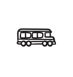 School bus sketch icon vector