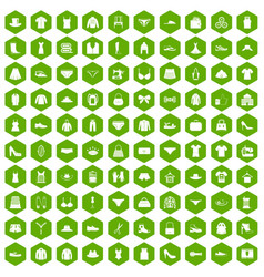 100 sewing icons hexagon green vector