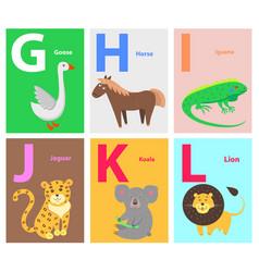 alphabet with cute cartoon animal flat set vector image