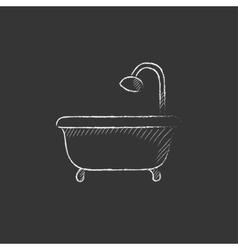 Bathtub with shower Drawn in chalk icon vector