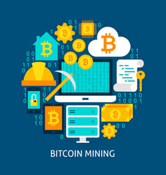 Bitcoin mining flat concept vector