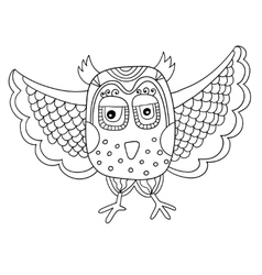 Black and white owl line drawing in doodle vector