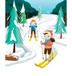 Boy And Girl Skiing vector image