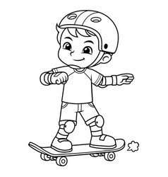 boy excersicing with his skateboard bw vector image
