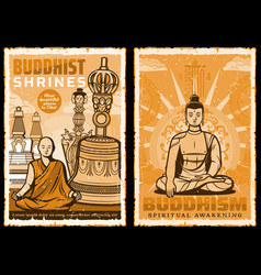 buddhist shrines posters with buddha or tibet monk vector image