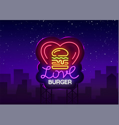 Burger logo love burger design template vector