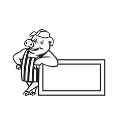 Butcher pig leaning on sign or signage cartoon vector