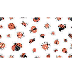 cartoon ladybugs insect pattern forest wildlife vector image