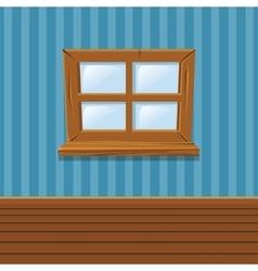 Cartoon Wooden window Home Interior vector