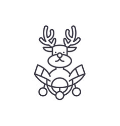 christmas deer decoration line icon concept vector image