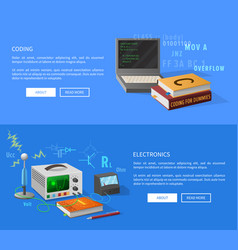 Coding and electronics courses informative page vector