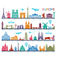 Collection of europe detailed silhouettes set vector