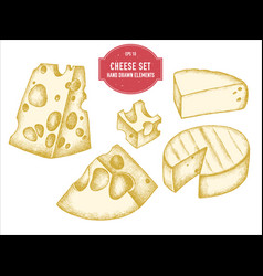 collection of hand drawn pastel cheese vector image