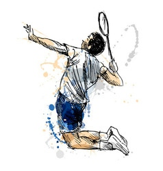Colored hand sketch badminton player vector