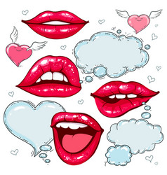 colorful icons set red lips with speech bubble vector image