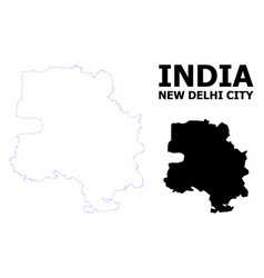 Contour dotted map new delhi city with vector