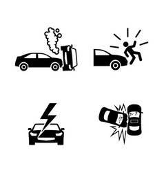 crashed cars simple related icons vector image