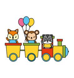 cute animal train toys vector image