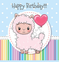 Cute cartoon lama with balloon vector