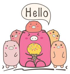 cute cartoon pigs family vector image