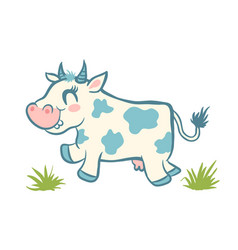 Cute cow and green grass vector