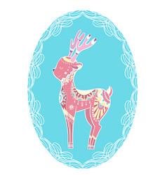 cute gentle coloring cartoon deer with boho vector image