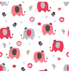 cute seamless pattern with funny elephants vector image