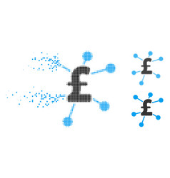 Disappearing pixelated halftone pound links icon vector