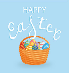 easter eggs in a backet for holiday poster banner vector image