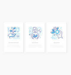 ecology concept - line design style banners set vector image