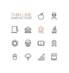 Education - Thin Single Line Icons Set vector image