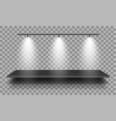 Empty wooden shelf with lamps isolated on vector