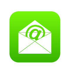 envelope with email sign icon digital green vector image