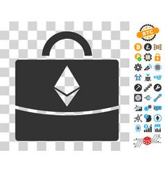 Ethereum business case icon with bonus vector