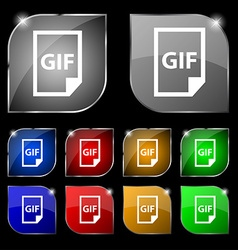 File GIF icon sign Set of ten colorful buttons vector