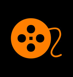 film circular sign orange icon on black vector image