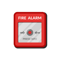 fire alarm system press button fire safety box vector image
