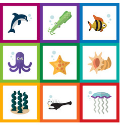 flat icon marine set of playful fish octopus sea vector image