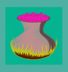 Flat on background of potion cauldron vector